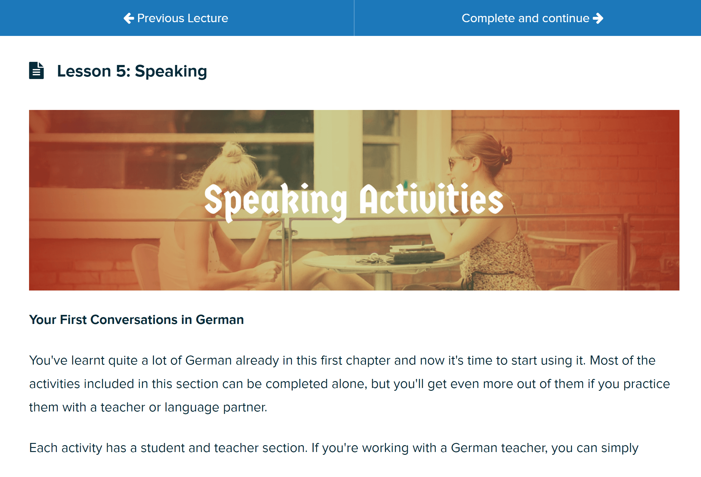 preview of the speaking area in german uncovered