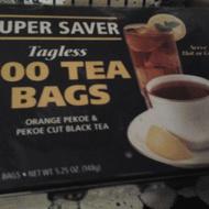 Orange Pekoe & Pekoe Cut Black Tea Super Saver Tagless 100 Tea Bags from Super Saver