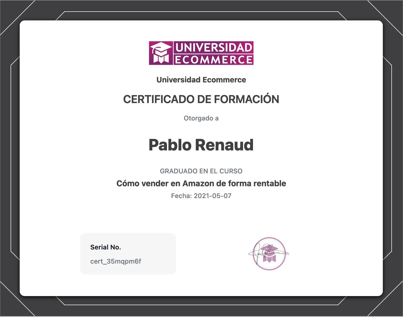 Certificados de formación de Universidad Ecommerce