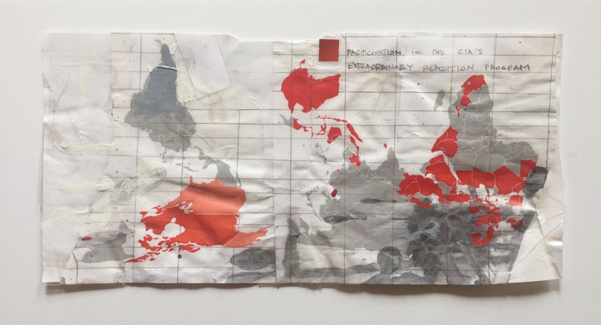 image: Extraordinary Rendition, 6x10 inches, adhesive tape collage