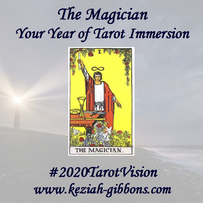 A lighthouse shines in the background while the Rider Waite tarot Magician holds aloft a wand to the sky, other hand pointing to the ground as they make themself a conduit for magic