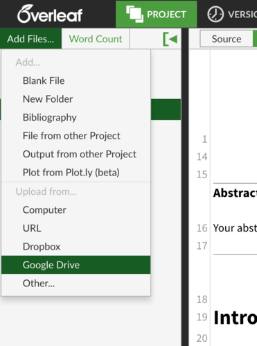Overleaf upload screenshot