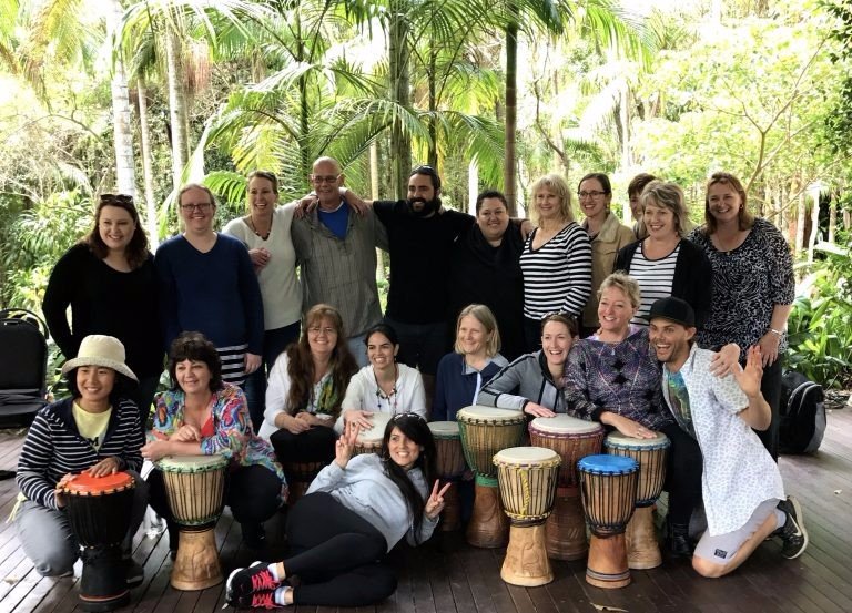 2016 Conference Attendees at drumming session