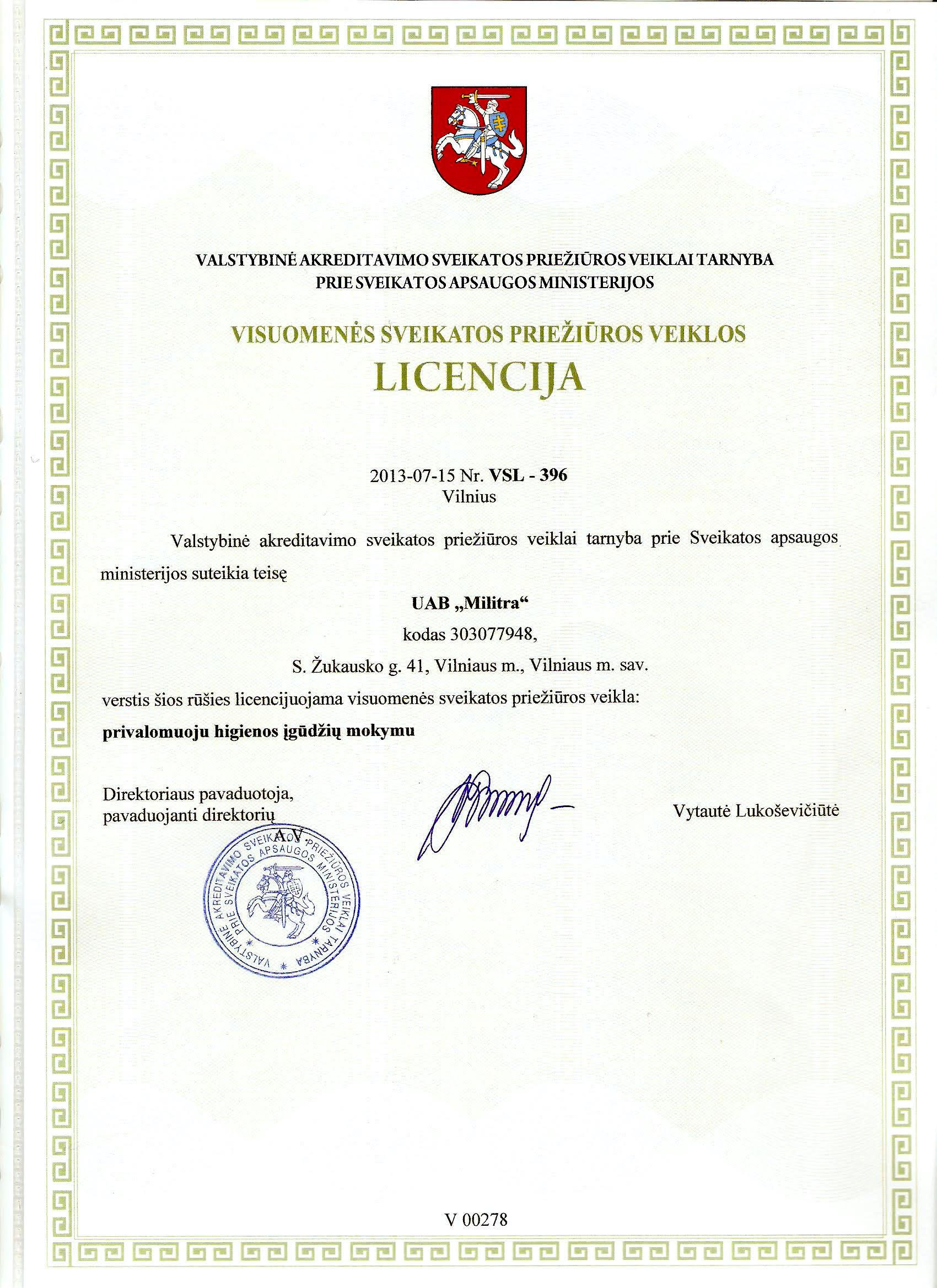 Privalomojos higienos įgūdžiu mokymo licencija