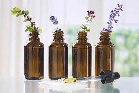 brown bottles of essential oils