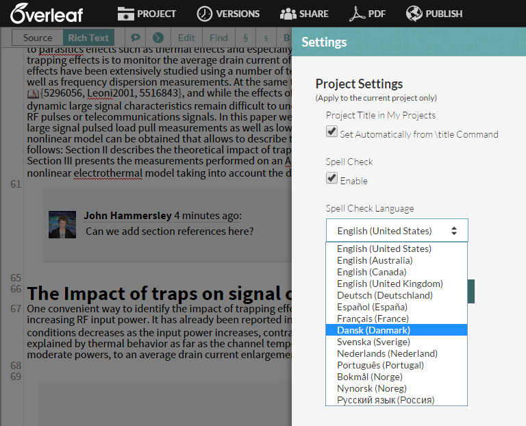 Overleaf spell check selection settings in project editor