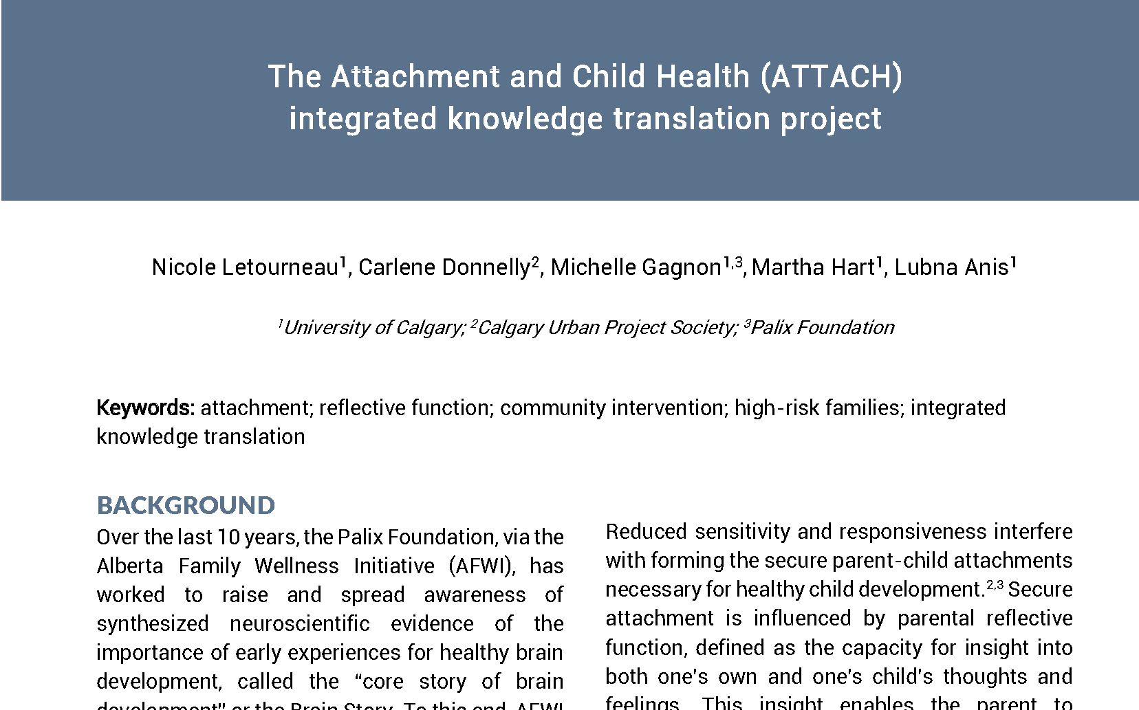 Publications on the ATTACH website
