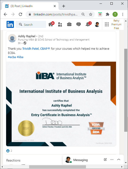 Recipient of IIBA Level 1 - ECBA Certificate