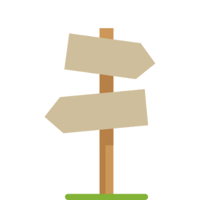 Icon of a brown sign post with two signs pointing in opposite directions