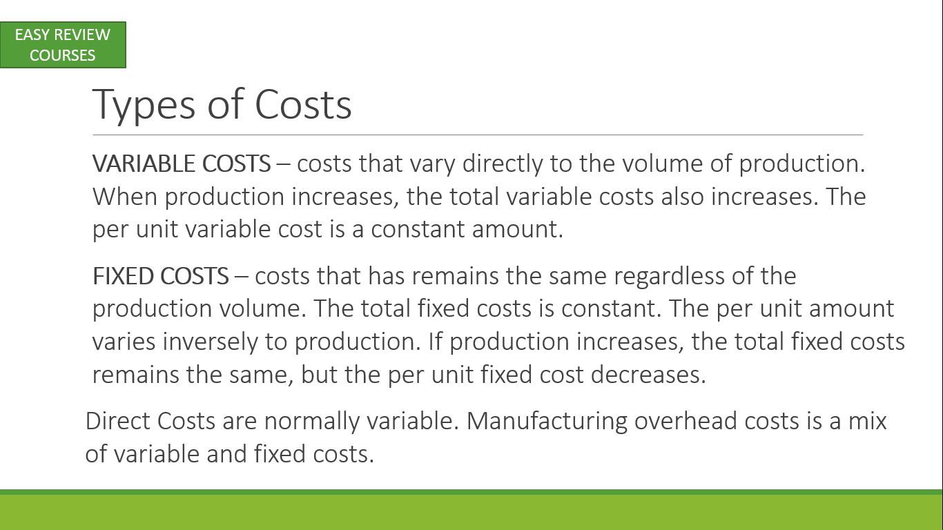 Types of production costs 8