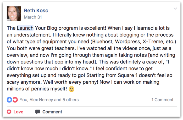 Beth testimonial for Launch Your Blog Course by Create and Go