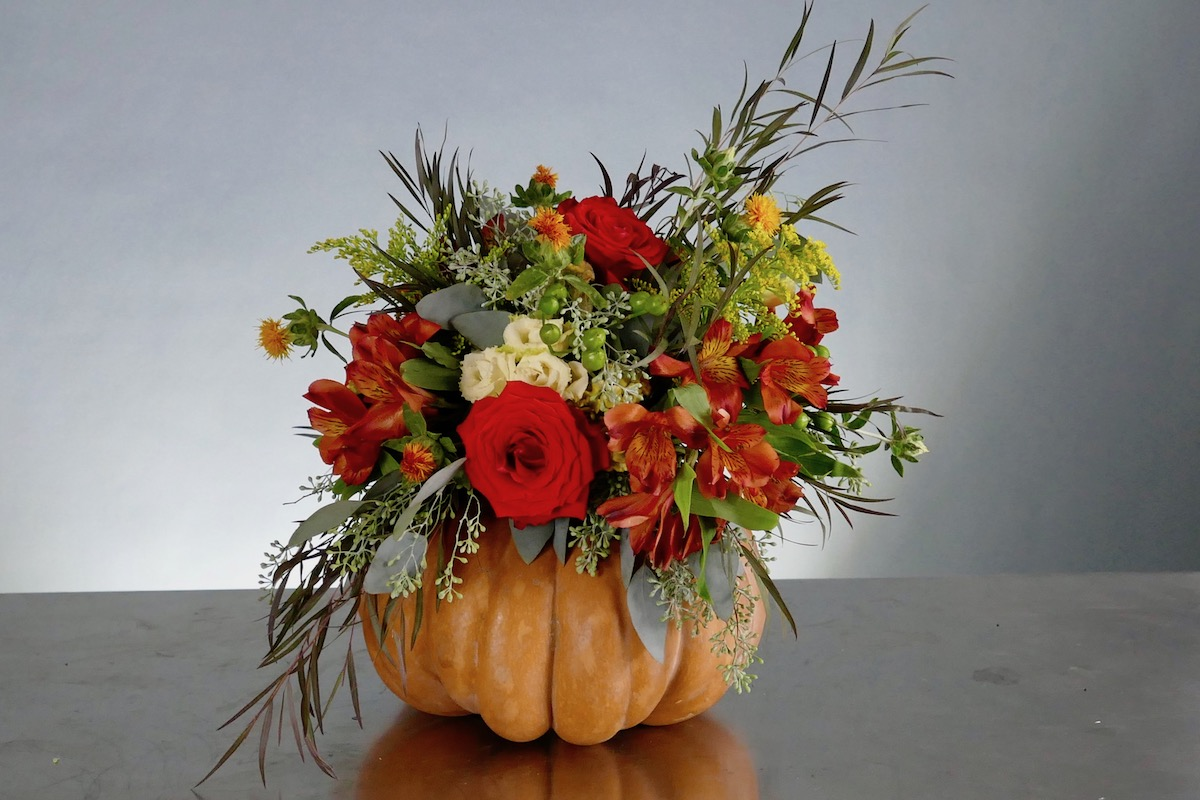 No Carve Floral Pumpkin