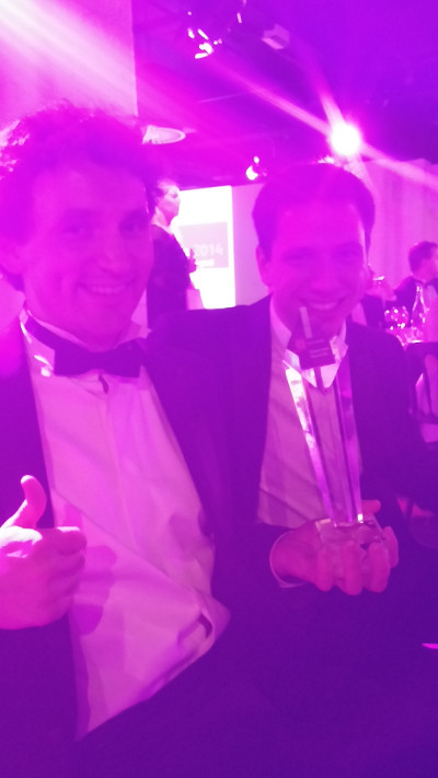 John Lees-Miller and Tim Alby with the Nominet award for Overleaf writeLaTeX