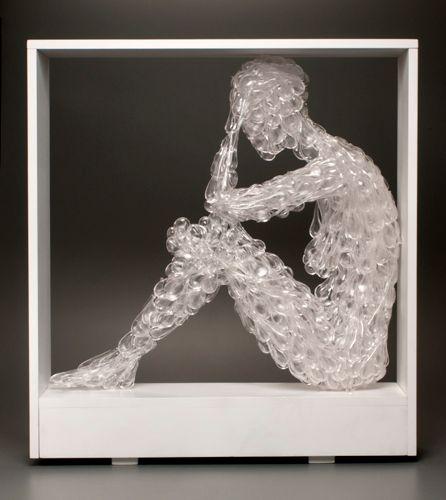 "image: Blown, fuse-cast glass, wood 35 1/2"" x 32 1/2"" x 9"", 2014"