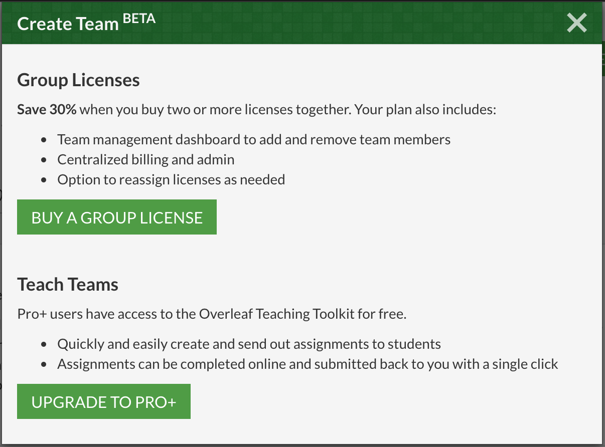 enhanced teaching toolkit now available through our pro teach plan create team modal open on overleaf