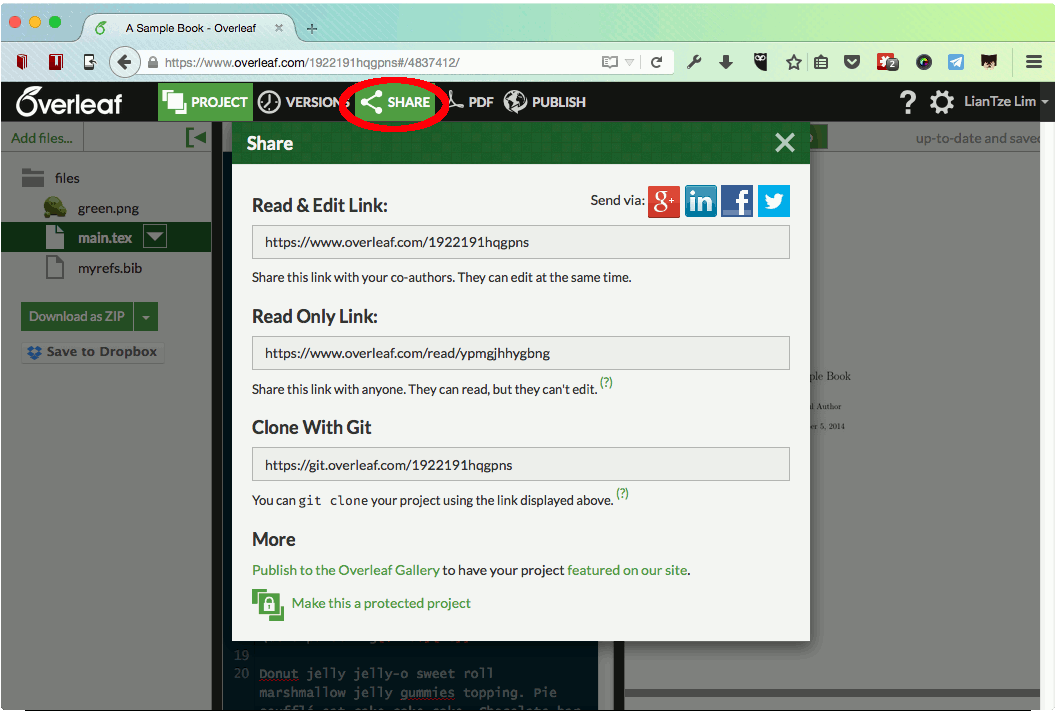 The Overleaf 'share' menu shows you the read-only and read-and-edit URLs