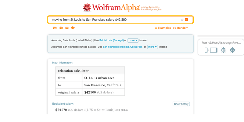 Wolfram Alpha Cost of Living