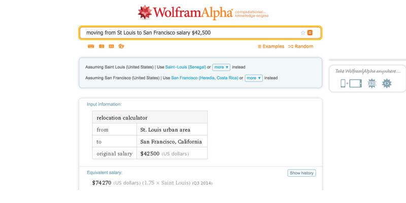 Wolfram Alpha Cost of Living