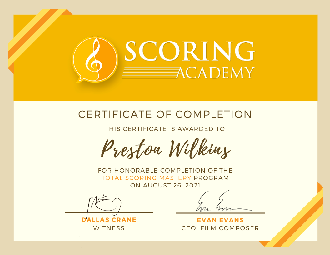 Certificate of Completion of the Total Scoring Mastery program from the Scoring Academy