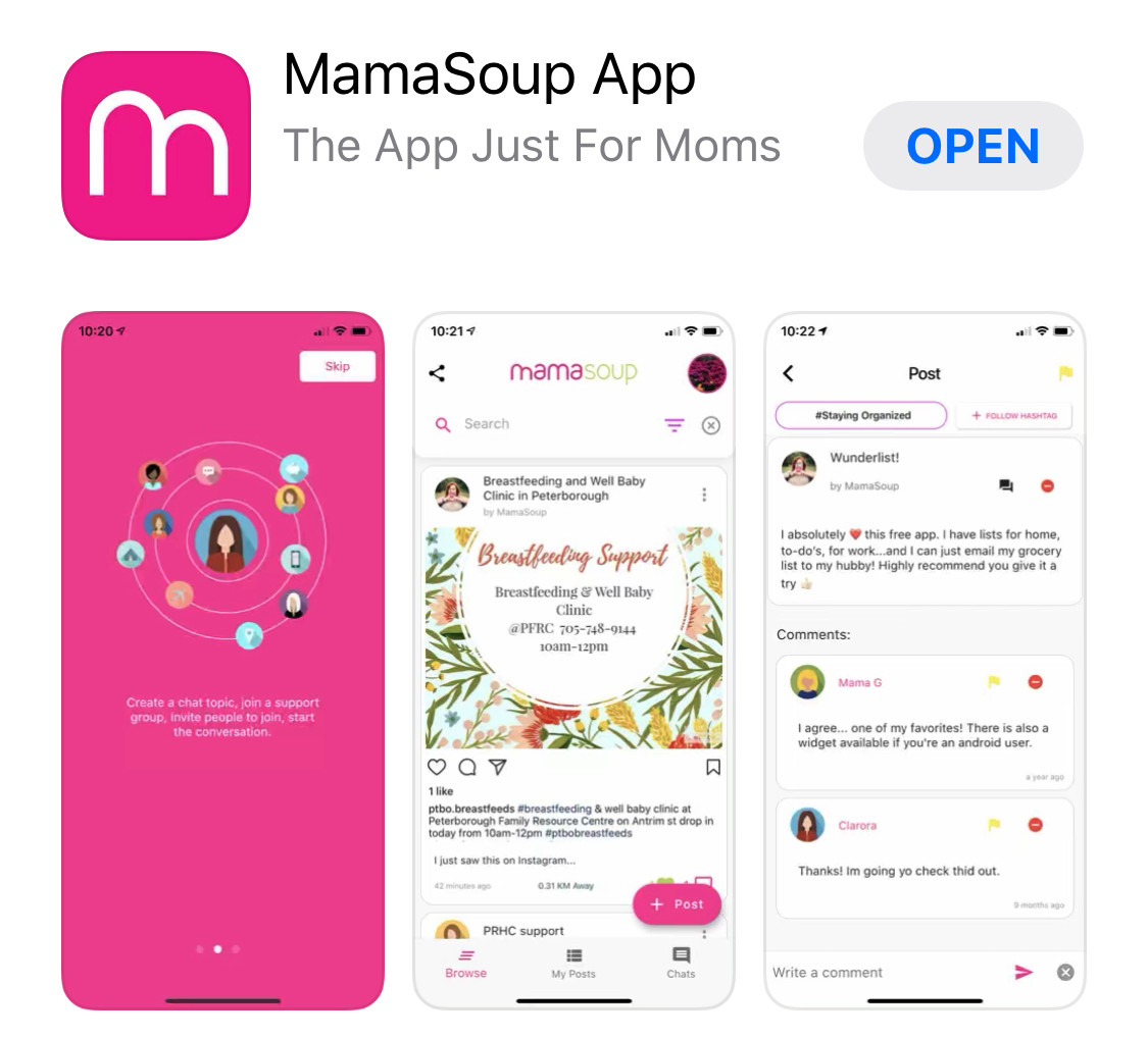 Mamasoup app for new moms is available on iOS and Android
