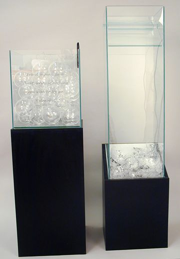 image: Blown and Sheet Glass, Wood, Marker Aprox 3' x 4' x 1.5' 2007