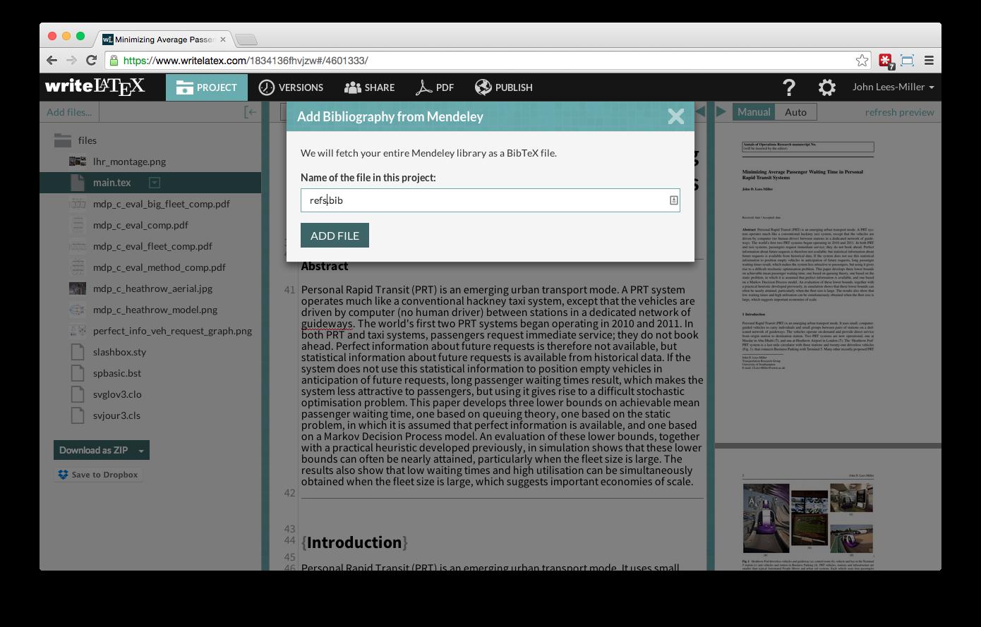 Overleaf Writelatex Mendeley reference bibliography import screenshot 5
