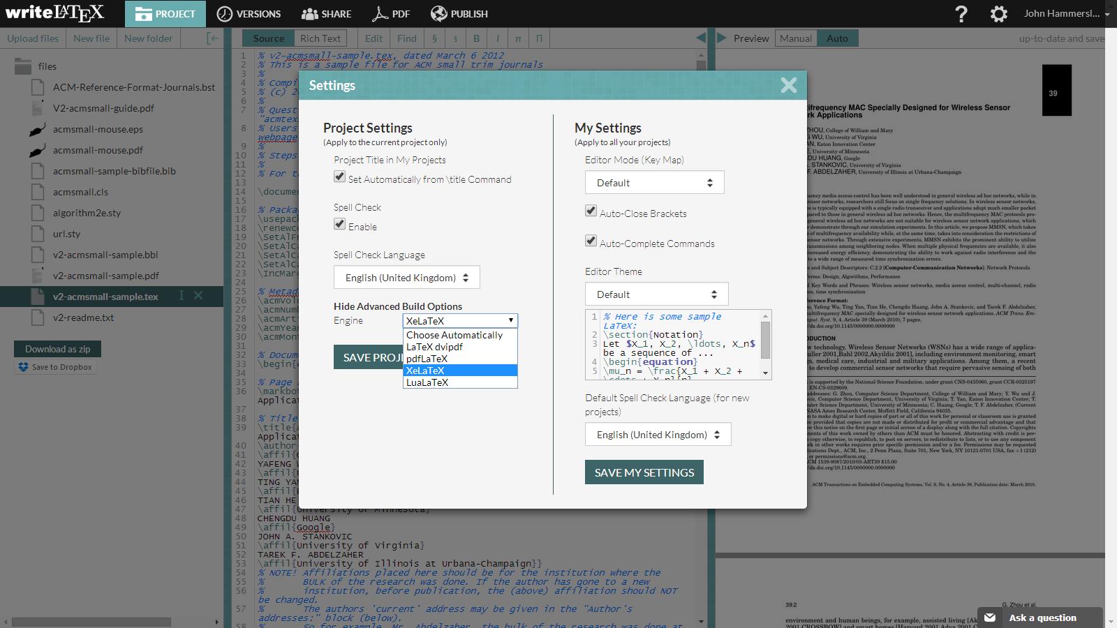 Writelatex build options example screenshot