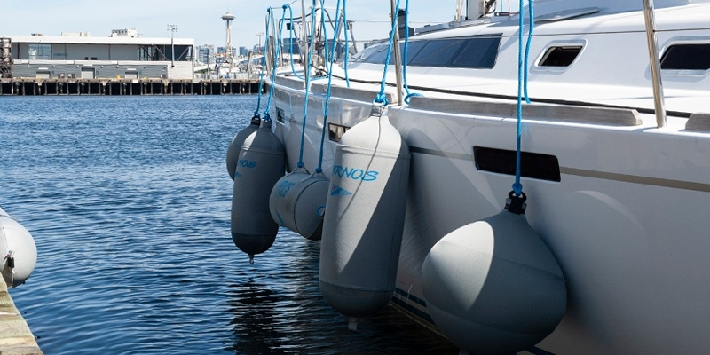Custom Fendertex fenders on sailboat