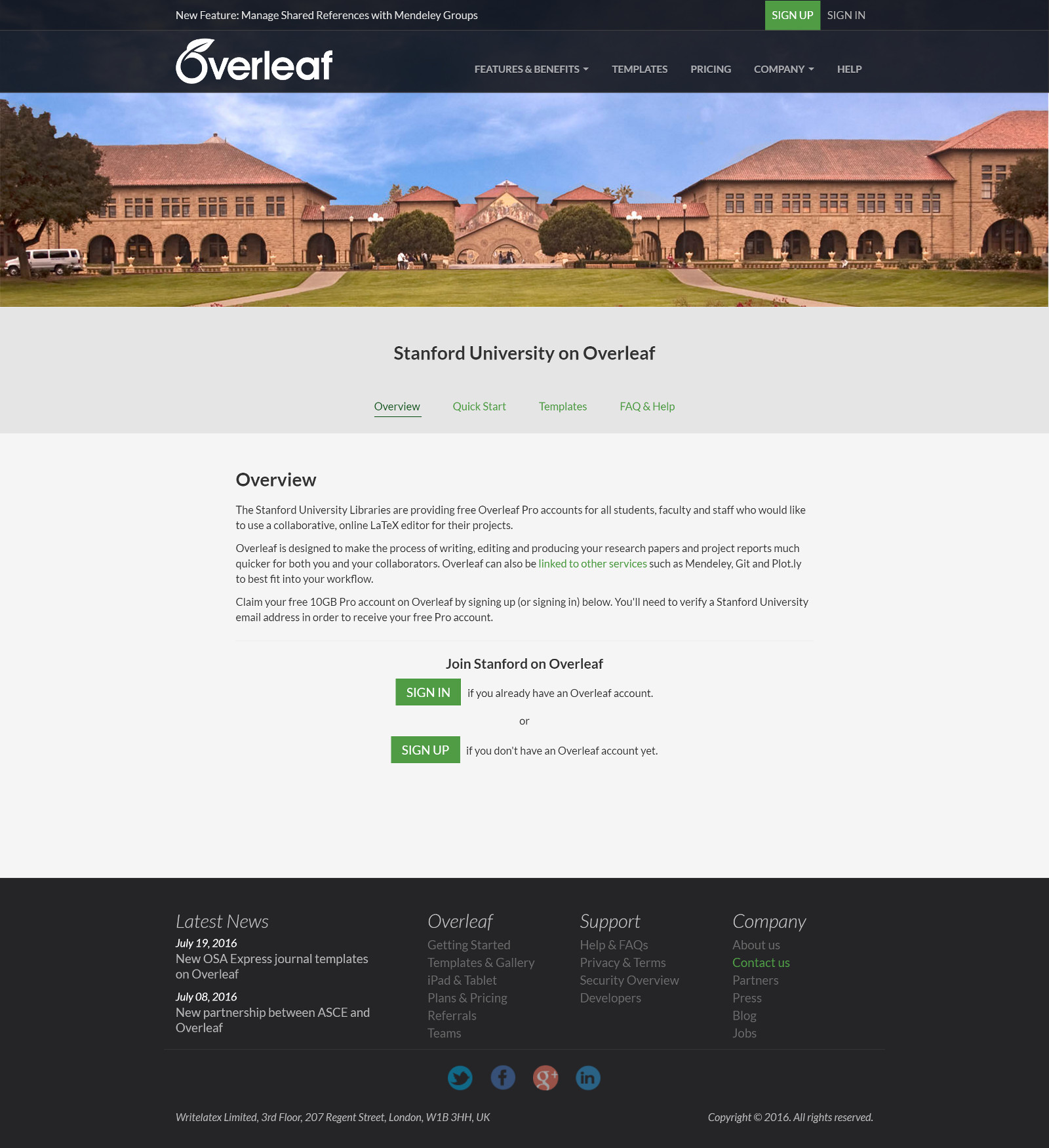 Screenshot of the Stanford University portal on Overleaf
