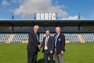 Willie John McBride with James Rousell of WJC Law and Rugby Club Chairman, Ken Crane