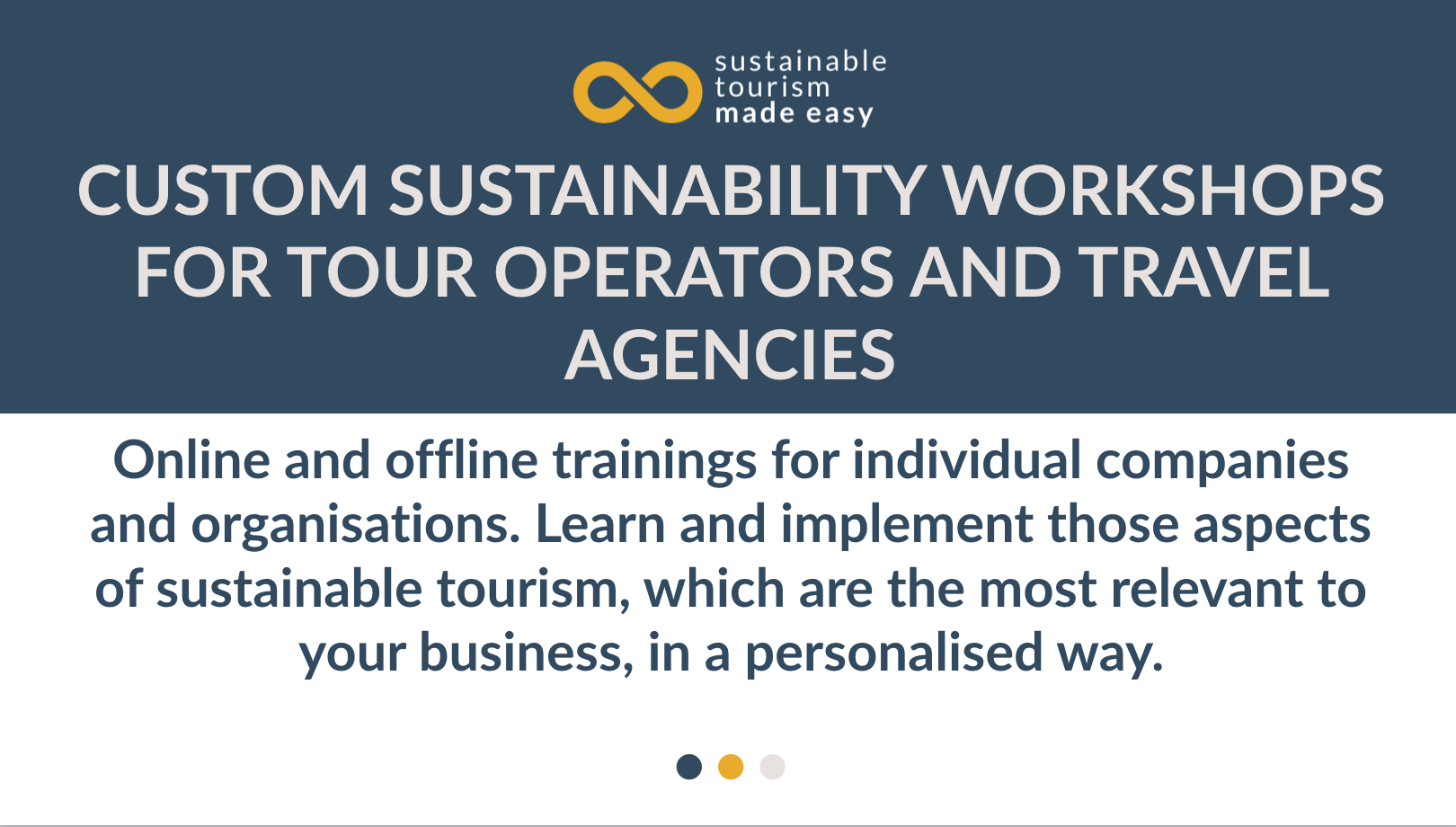 Custom sustainability workshops for tour operators and travel agencies