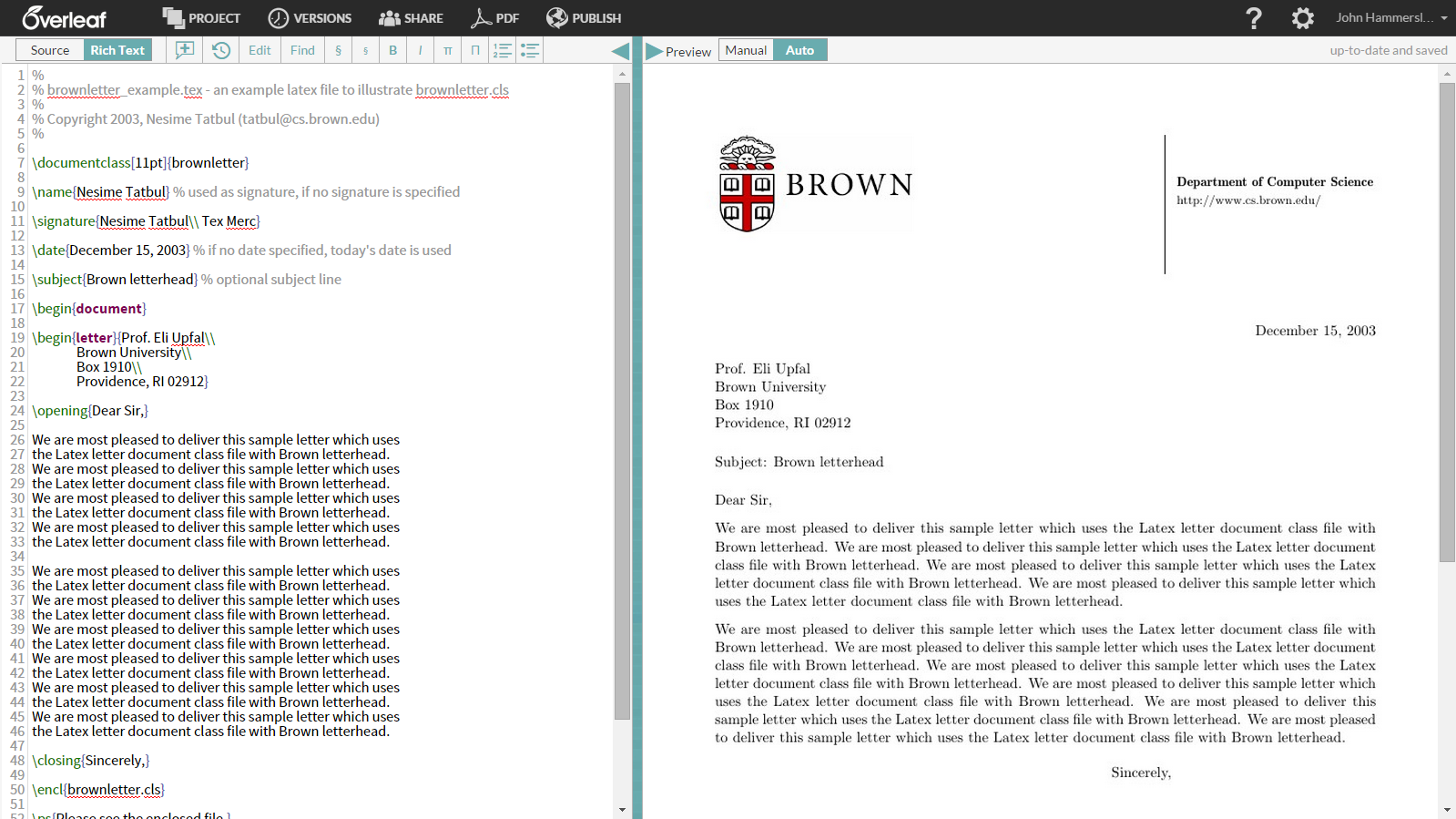 Brown University Overleaf template example screenshot