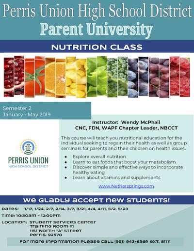 Nutrition Parent University Flyer EN