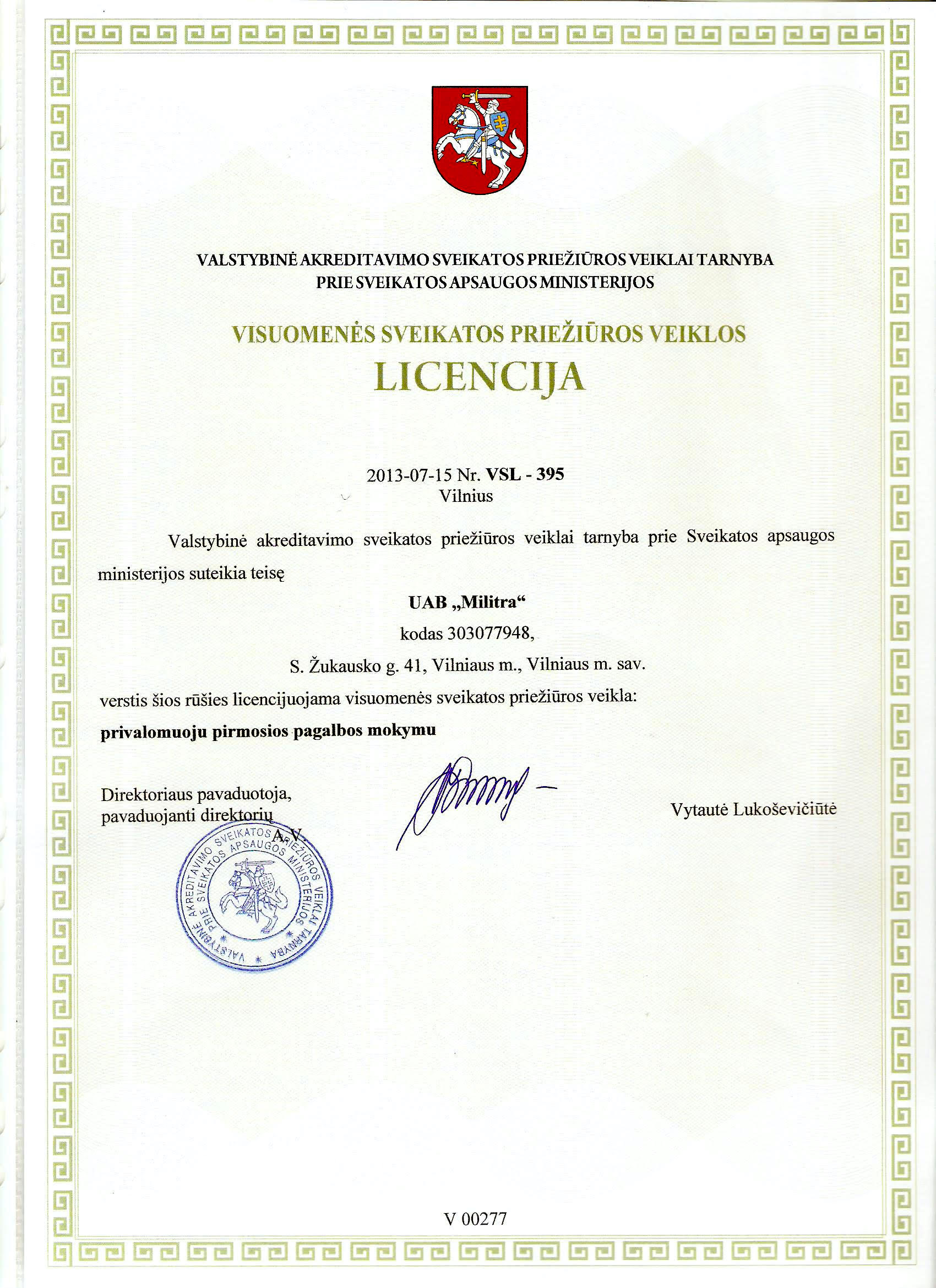 Pirmos pagalbos mokymo licencija