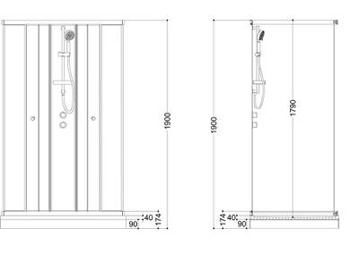 Roma dusjkabinett 70x90x190 STD, Grå/hvitt, venstre