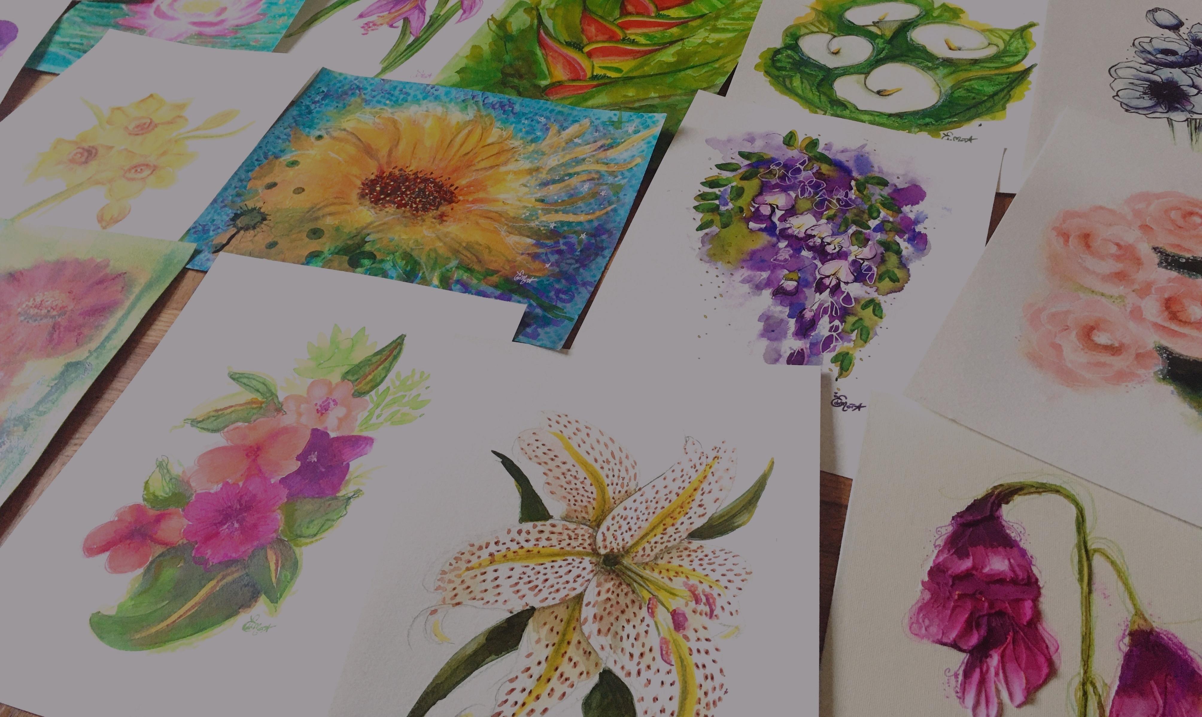 Illustration, fleurs, encres, mixed medias