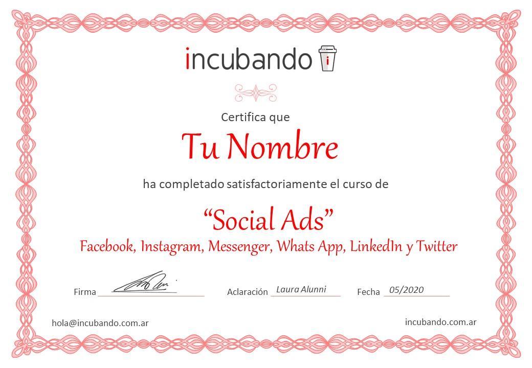 Certificado de Social Ads