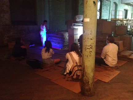 image: Performance, Cardboard, glass bottles, viewers, (5 hour durational piece) 2012