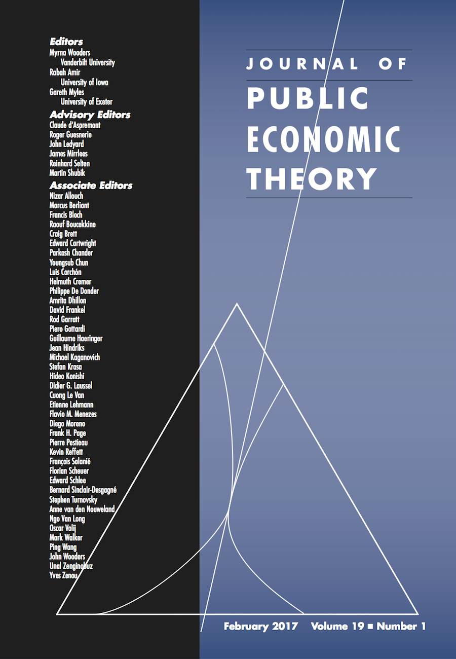 Template for submissions to Journal of Public Economic Theory