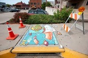Painted Curb and Stormdrain Murals