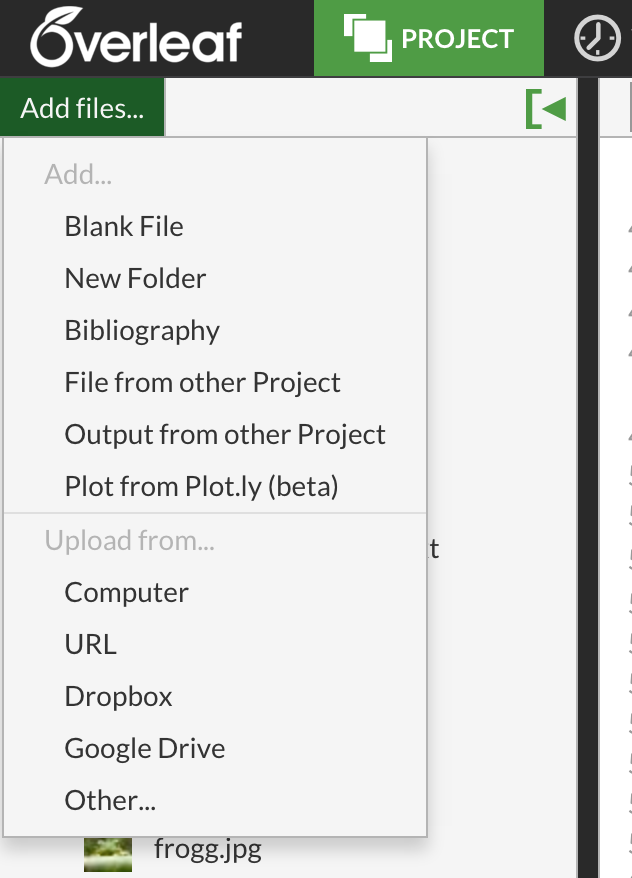 upload files link in the project menu