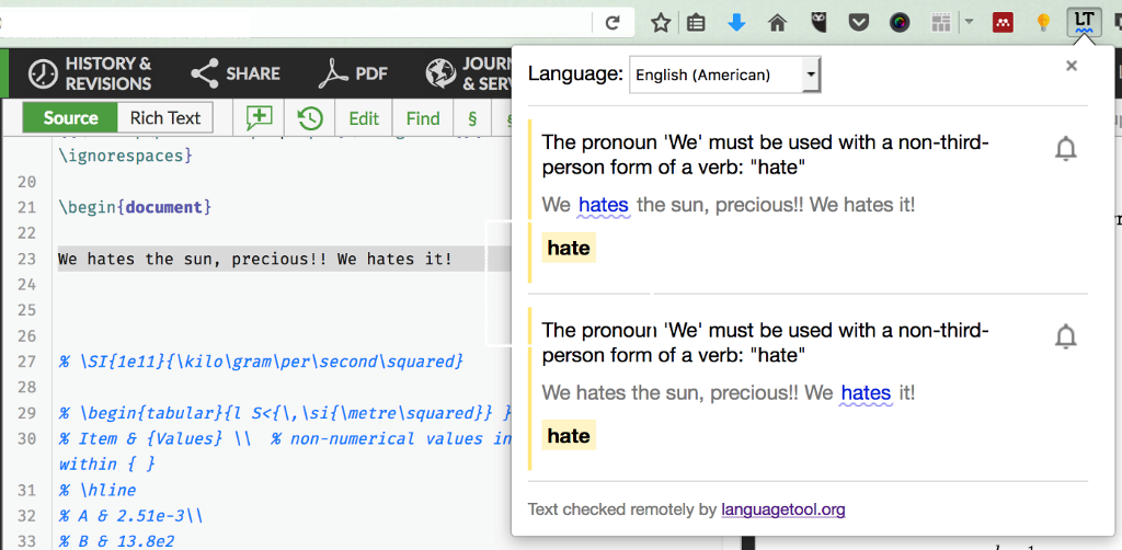 Screenshot showing the LanguageTool browser plugin being used in the Overleaf editor.