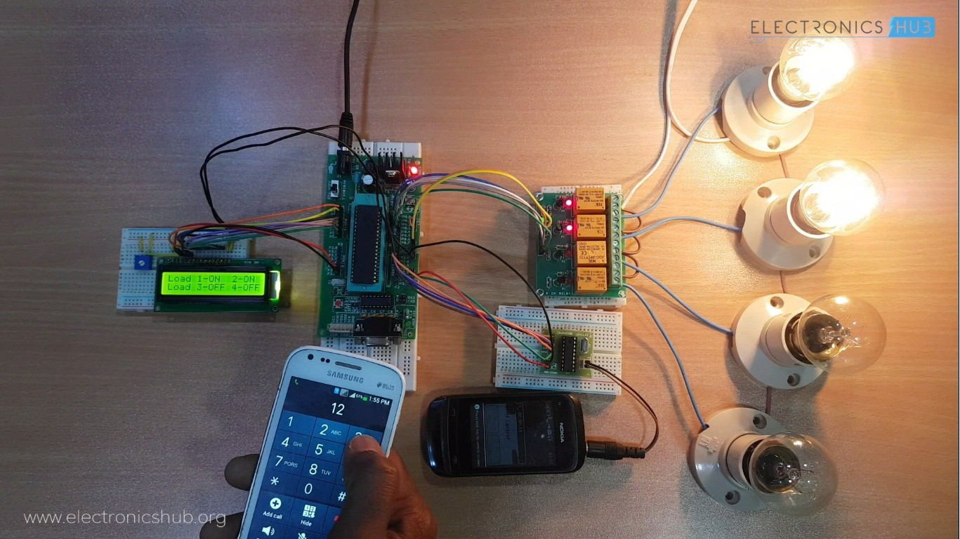 DTMF Based Load Control System Using 8051 | Electronics Hub - Courses