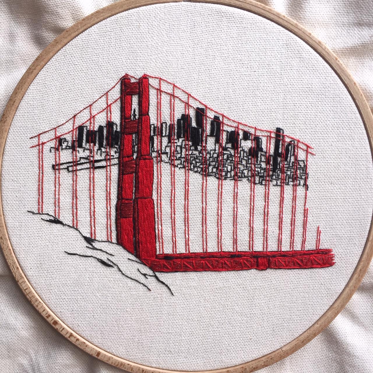 Golden Gate Bridge embroidery pattern