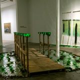 "image: ""Proceed with Caution"" -Wood Palettes,Bottle Glass, Mylar, Plexiglass, Light Tape"