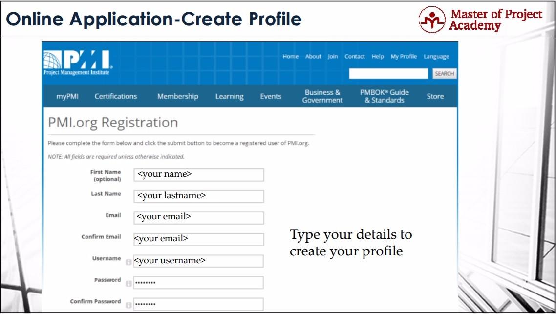 online pmp application steps