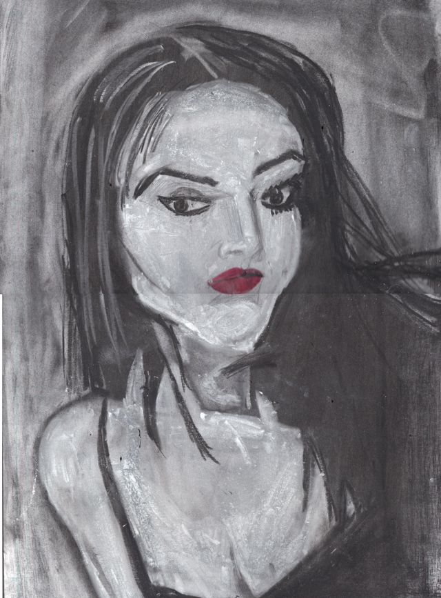 image: VAMPIRE IN CHARCOAL AND CONTE CRAYON. &5.00