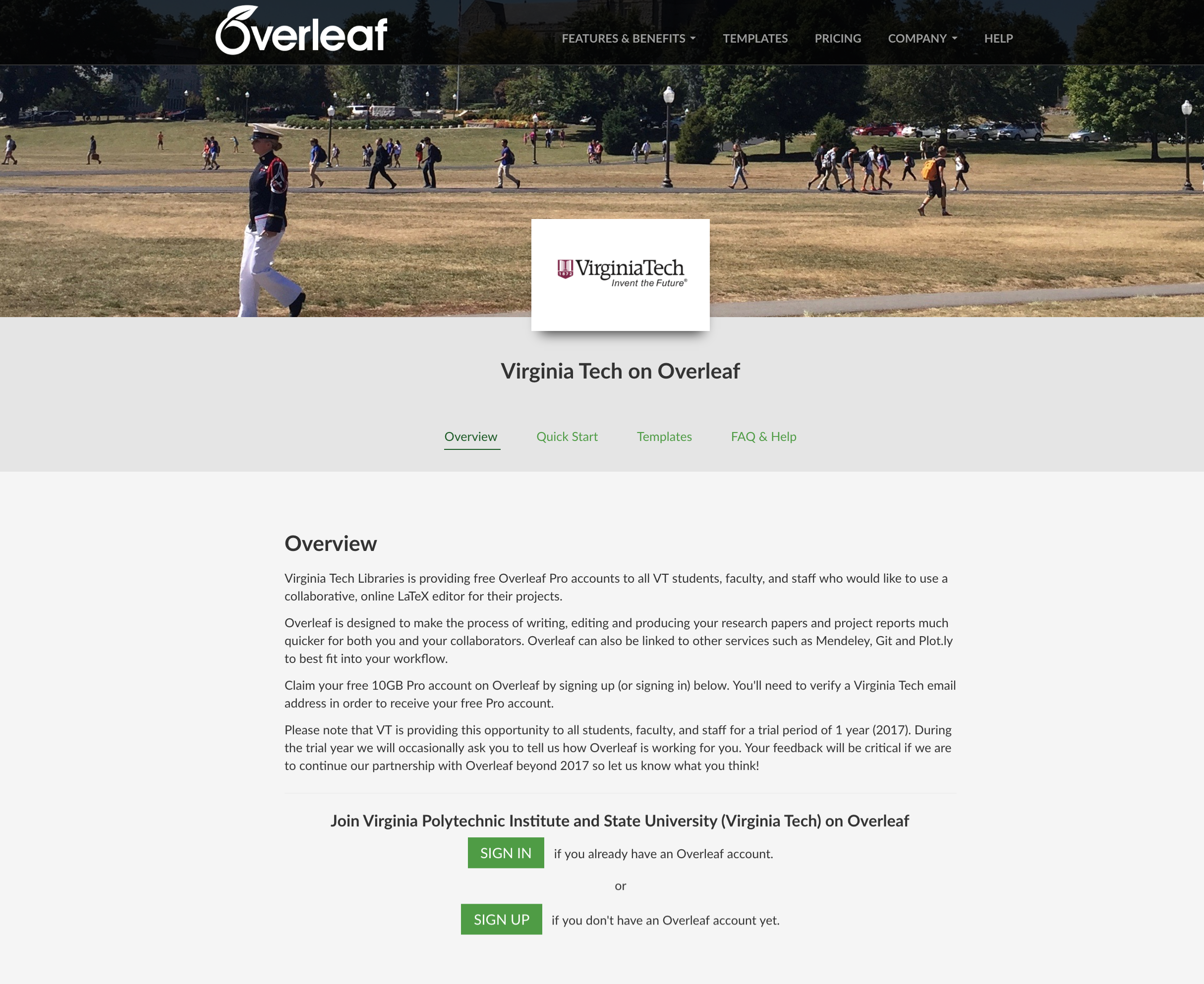 The new VA Tech Portal in Overleaf
