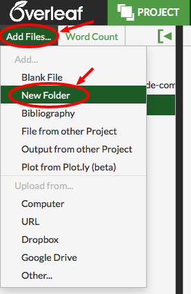 Overleaf add create new folder subfolder screenshot