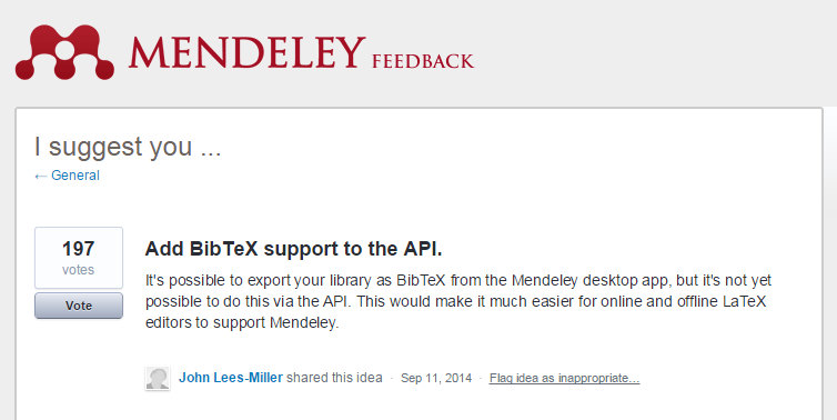 Mendeley API add BibTeX support feedback screenshot
